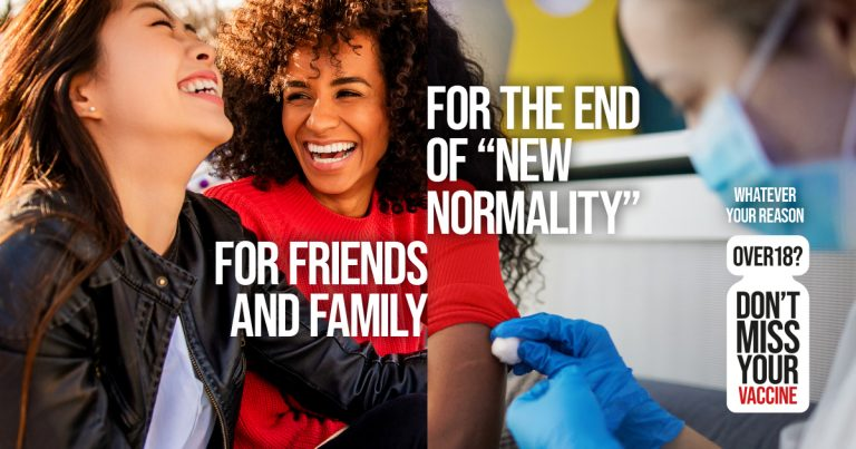 Campaign image of two friends and getting the Covid-19 vaccine